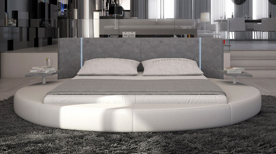 Mateo Round Bed With Led Lighting Contemporary Bedroom