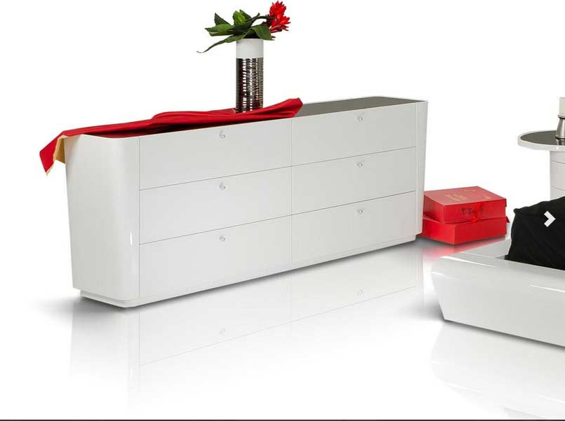 Contemporary White Lacquered Bed Graziano Modern Bedroom