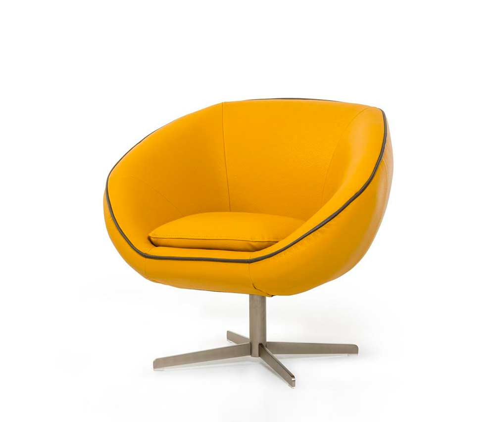 Modern Yellow Eco Leather Lounge Chair VG76 | Accent Seating