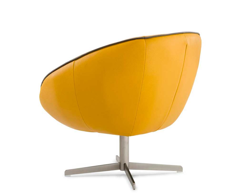 Home gt gt living room gt gt accent seating gt gt modern leather swivel chair - Modern Yellow Eco Leather Lounge Chair Vg76