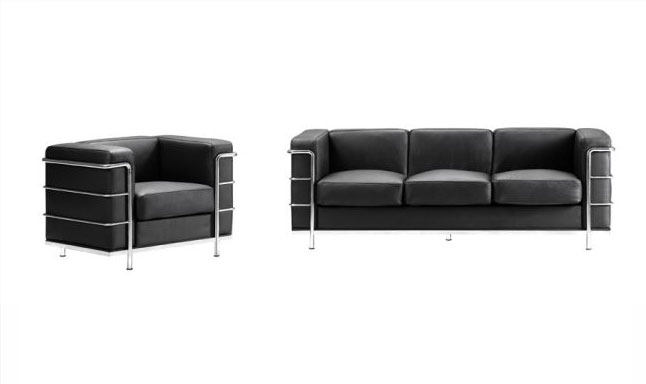 Black Contemporary Leather Sofa Fortune Leather Sofas