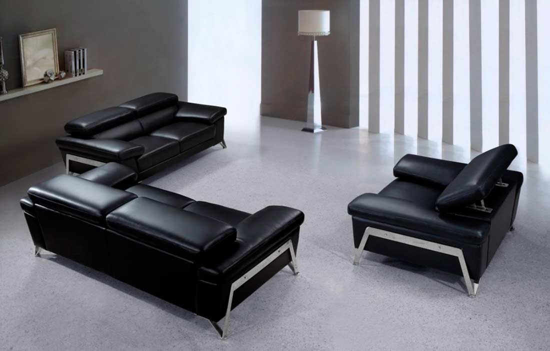 Modern black leather sofa set vg724 leather sofas for Modern leather furniture