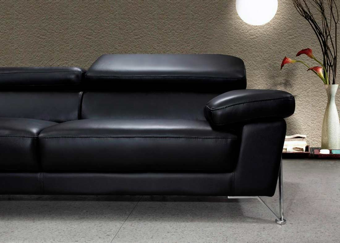 Modern Black Leather Sofa Set Vg724