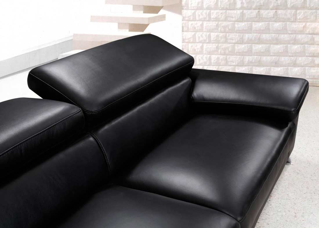 Modern black leather sofa set vg724 leather sofas for Modern loveseat