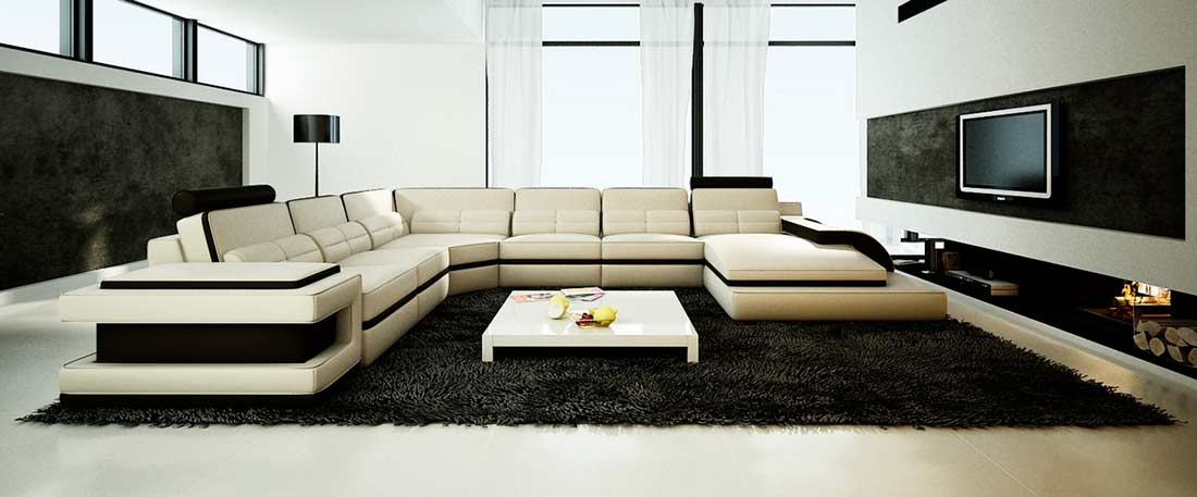 Modern Cream Leather Sectional Sofa Vg122