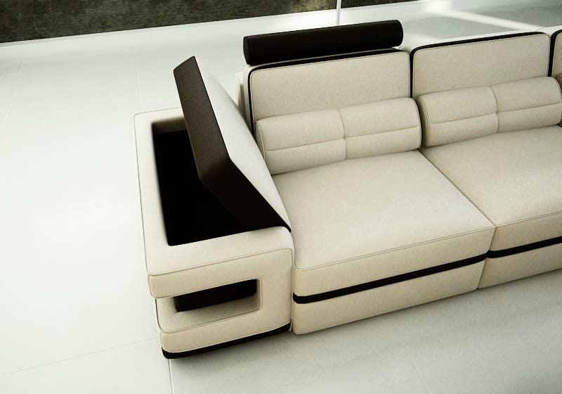 modern cream leather sectional sofa vg122