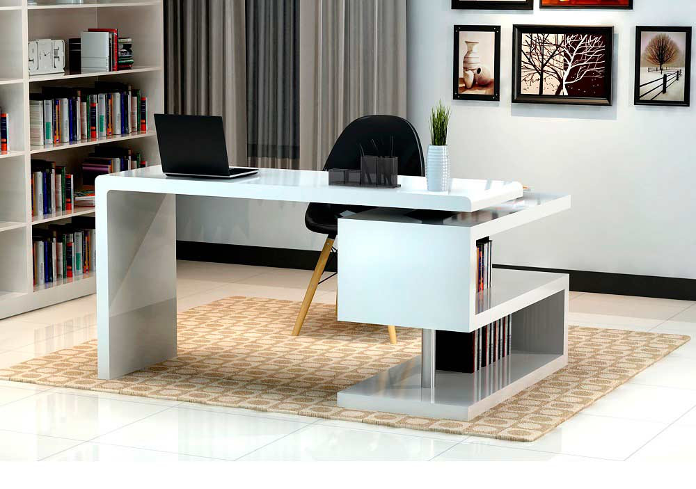 Modern white gloss office desk sj33 desks for Modern white office