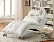 White Bonded Leather Chaise