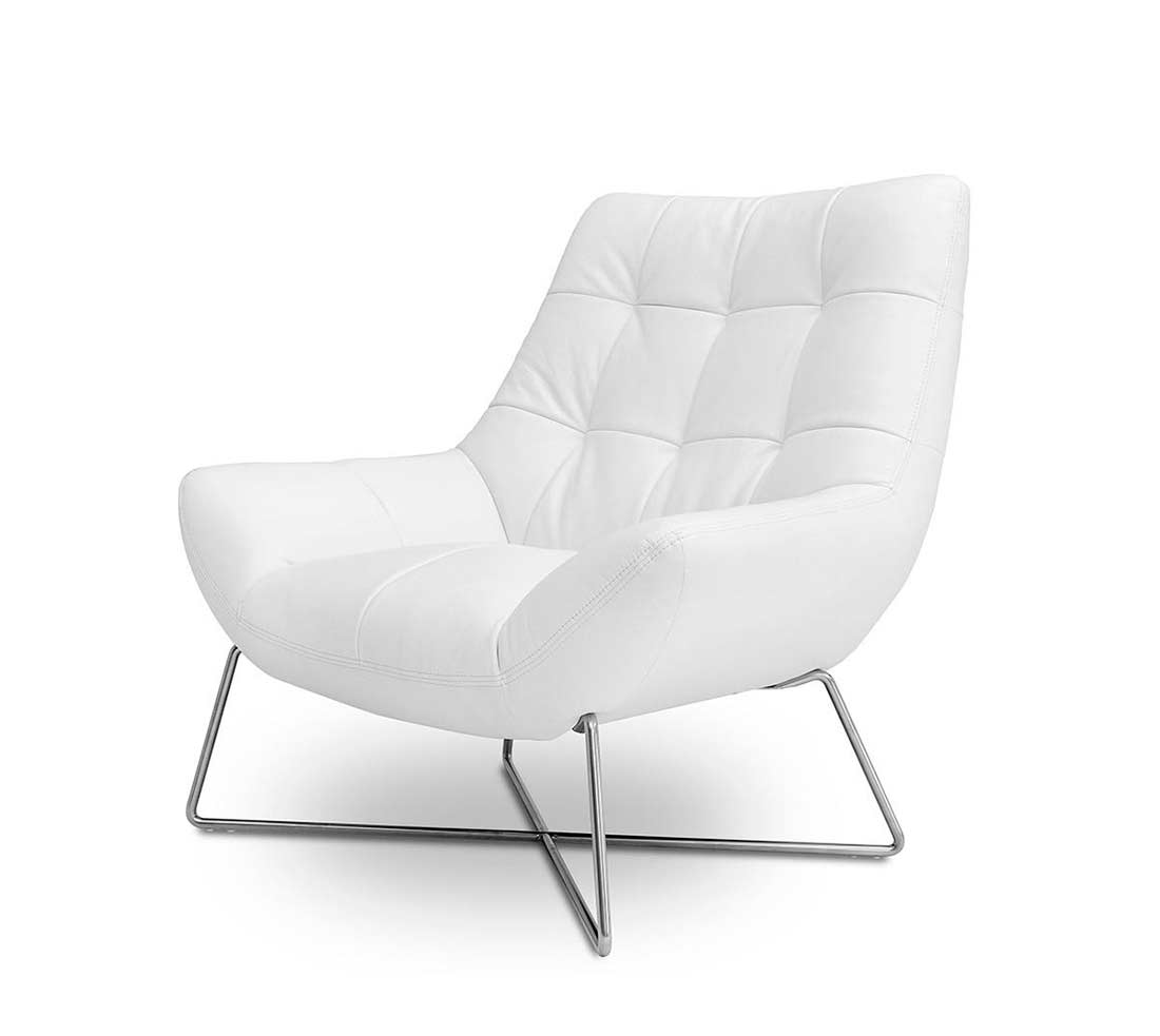 Modern White Tufted Occasional Chair VG728