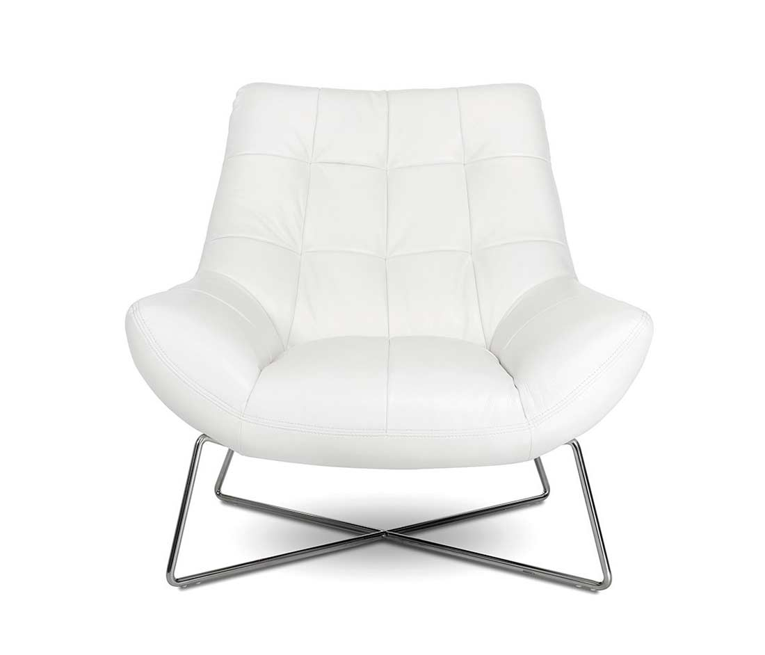 Beau Modern White Tufted Occasional Chair VG728 ...