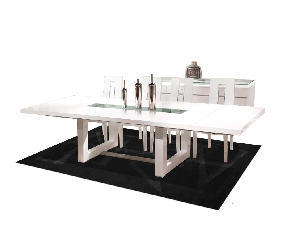 White Lacquer Dining Table Nola Modern Dining