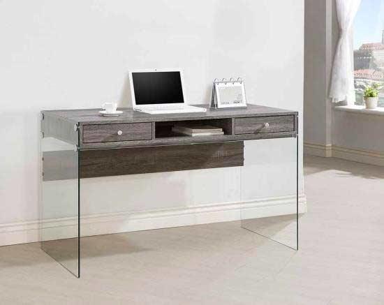 glossy black modern desk with glass legs co 830 desks