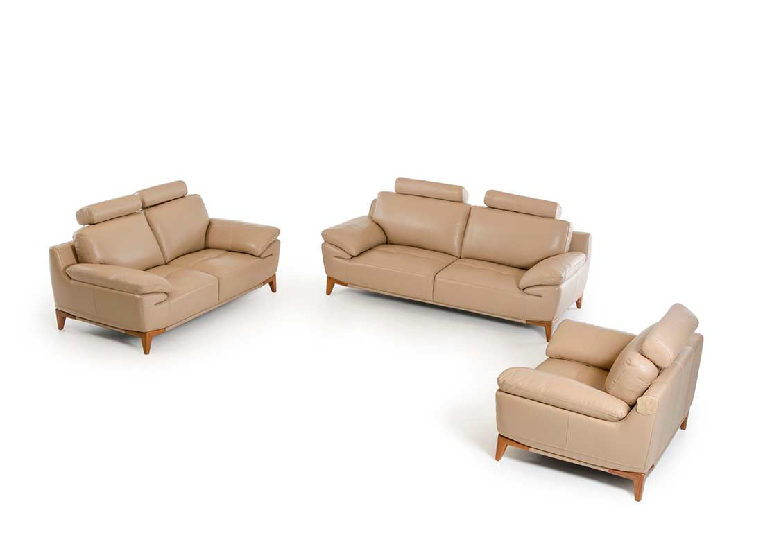 Contemporary taupe leather sofa set vg410 leather sofas for Contemporary leather furniture