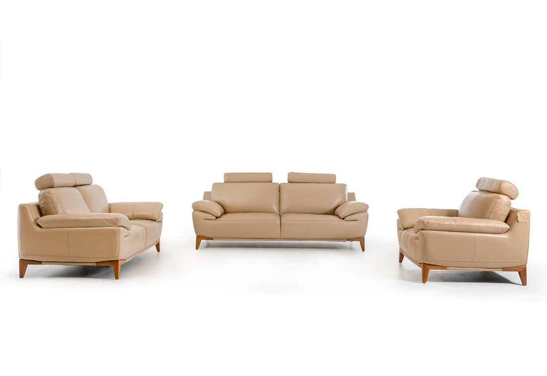 Contemporary taupe leather sofa set vg410 leather sofas for Modern leather furniture