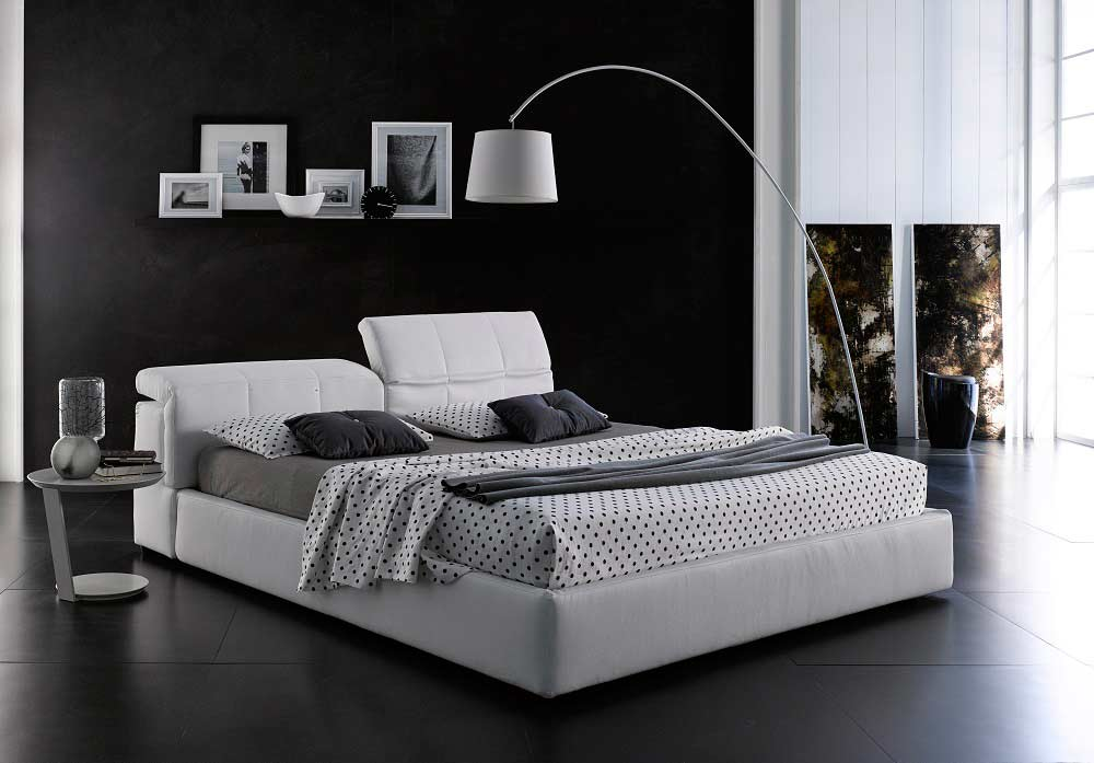 Modern white platform bed with storage nj087 - Modern queen bed with storage ...