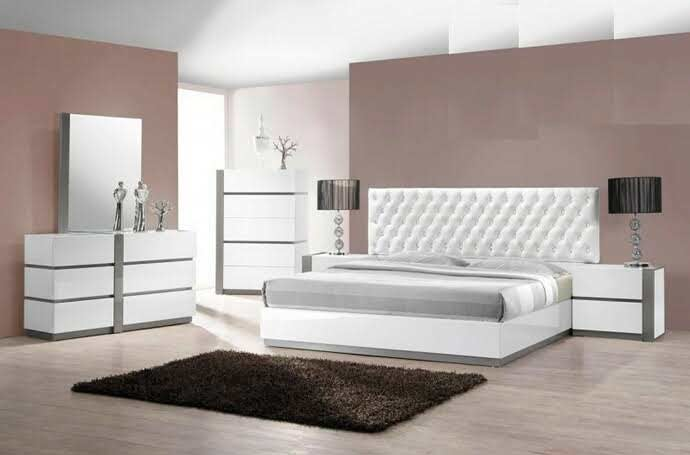 White Lacquer Bed With Crystals Bm Villa Modern Bedroom Furniture