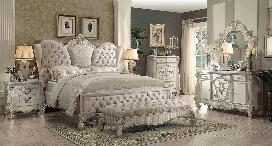 Ivory velvet white bone sleigh bed ac chatueau for K michelle bedroom furniture