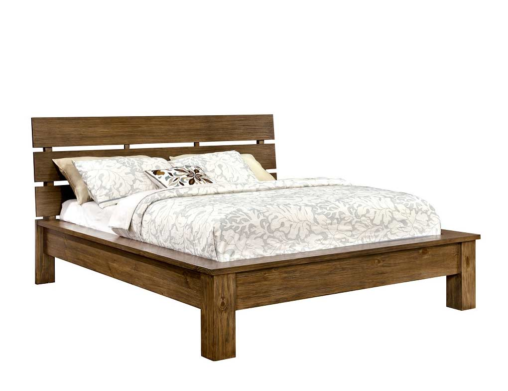 Platform bed in rustic finish fa51 platform beds Wooden bed furniture
