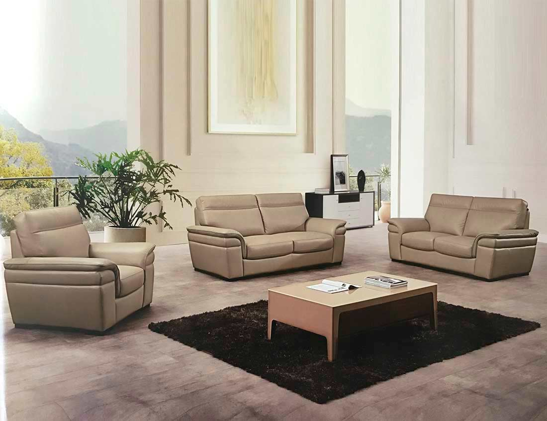 Italian Tan Leather Sofa Set AEK-20TN | Leather Sofas