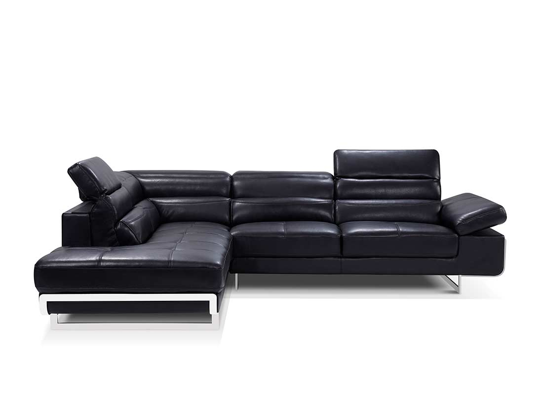 Modern black leather sectional sofa ef347 leather sectionals for Modern leather furniture