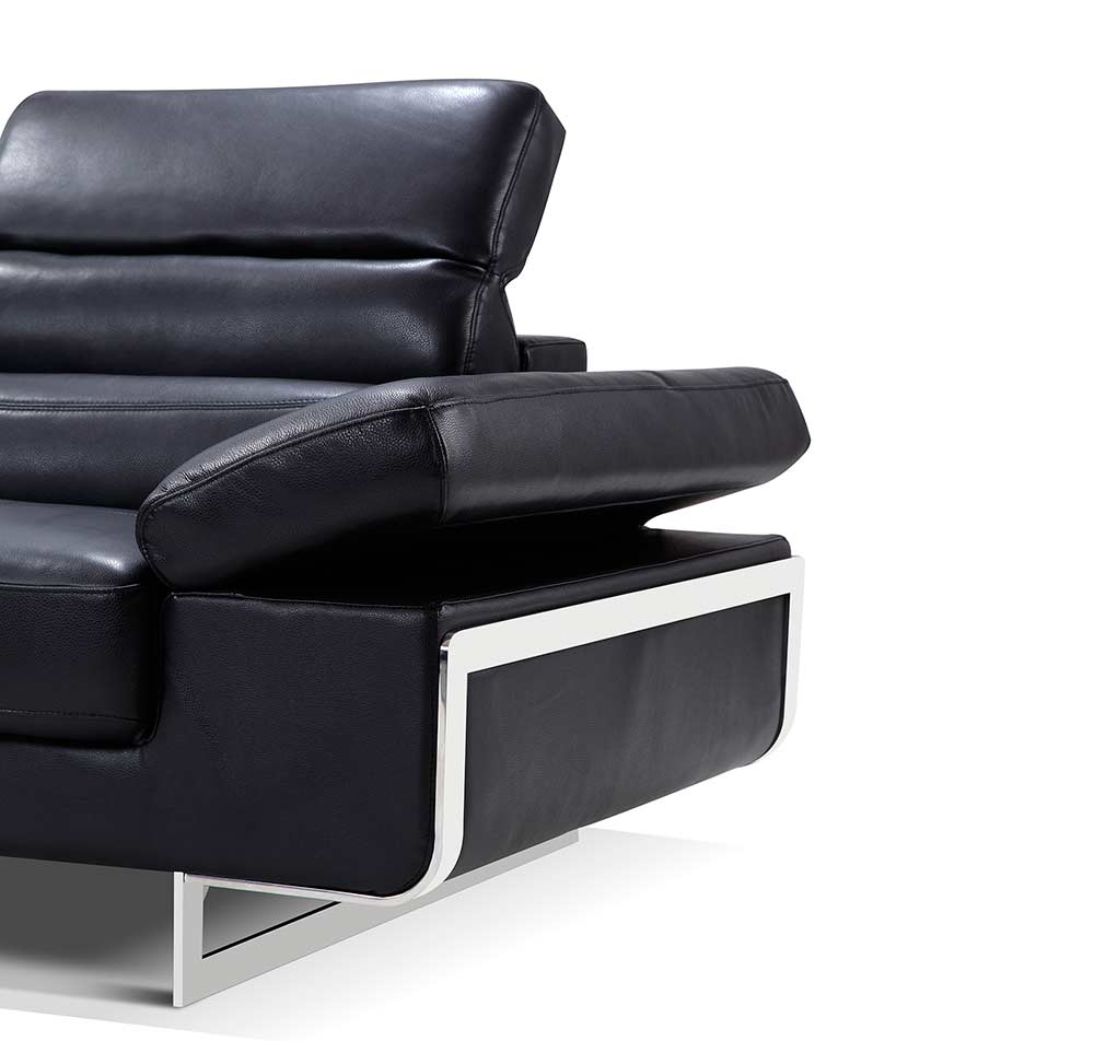Modern black leather sectional sofa ef347 leather sectionals for Contemporary black leather chairs