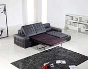 Black Leather Sectional Sofa Bed VG125