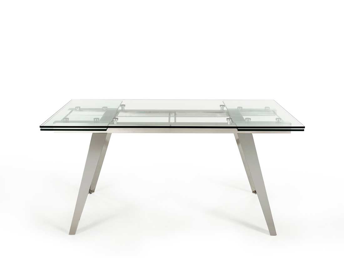 Extendable glass dining table vg429 modern dining for Extendable glass dining table