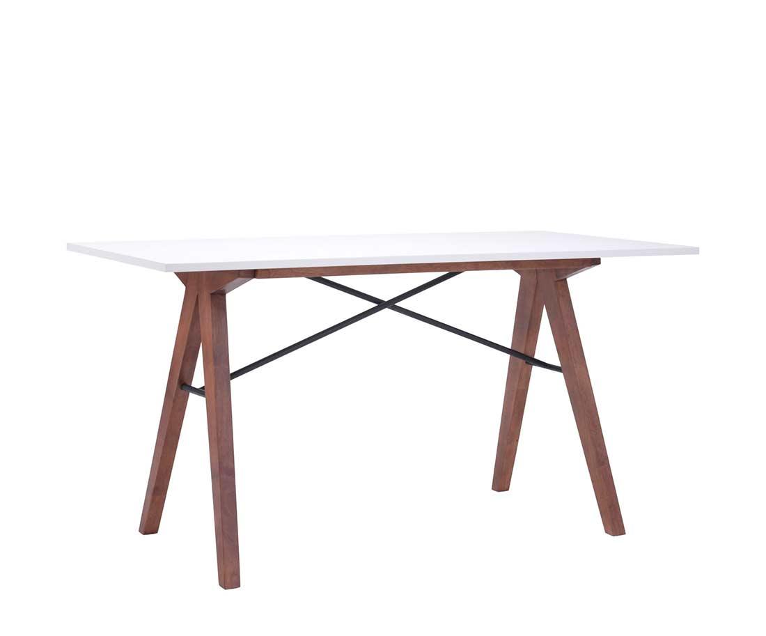 White Desk With Walnut Legs Z147