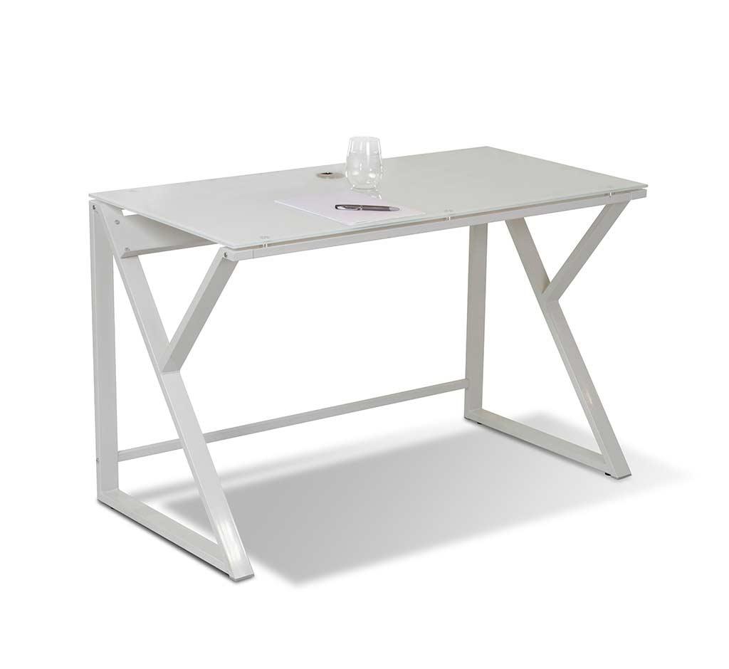 Unique Furniture Glass Top White Desk 223