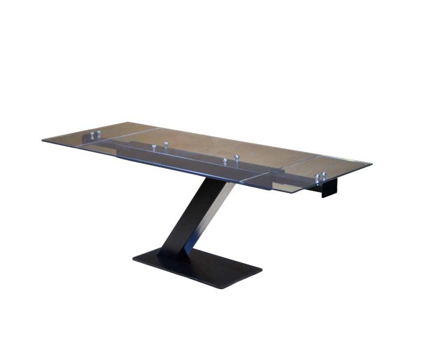Extendable Glass Table In Matte Black Base EStyle 874