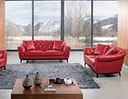 Red Italian leather sofa set AEK 093