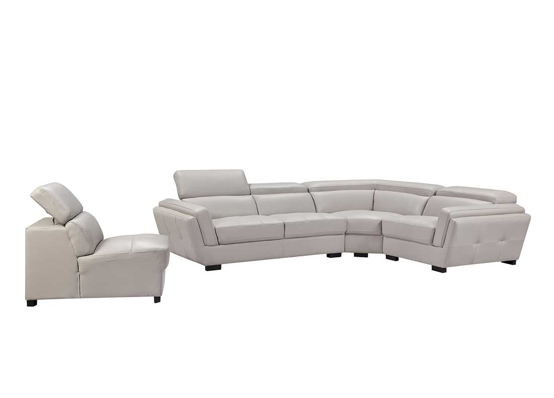 Light Grey Sectional Sofa Ef 566 Leather Sectionals