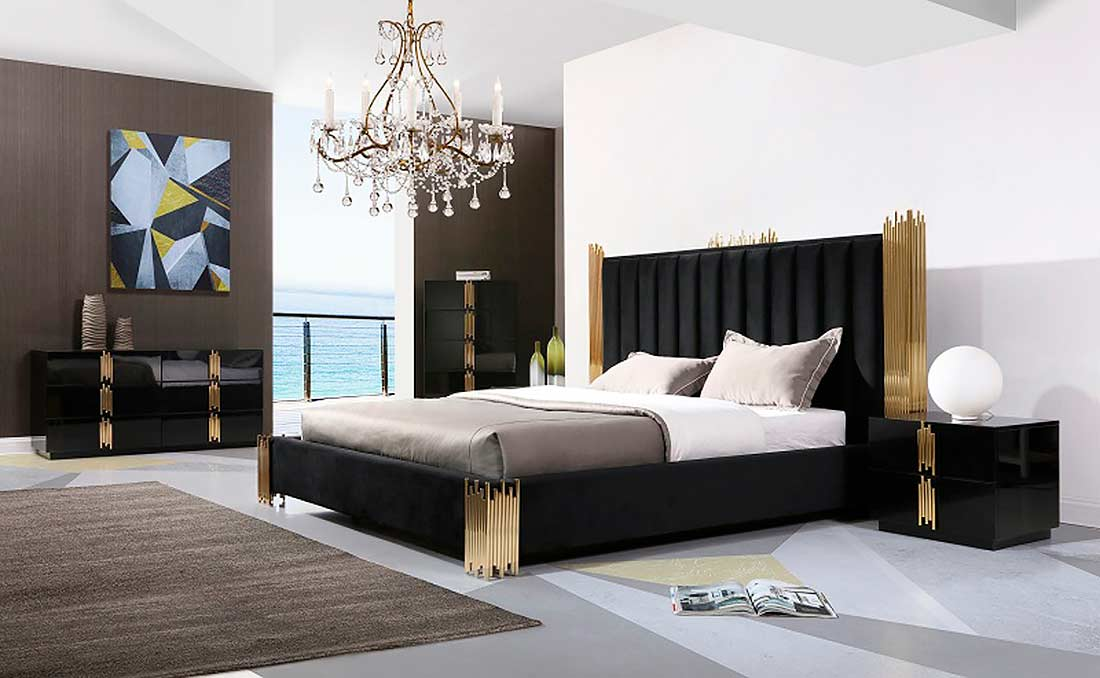 Black And Gold Bed Vg 259 Modern Bedroom Furniture