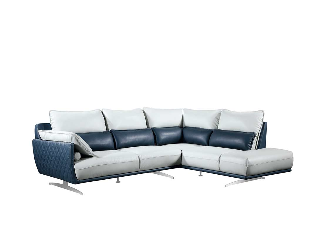 Light Grey With Blue Sectional Sofa Ef 311 Leather