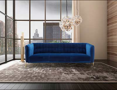 Blue Velour Sofa NJ Vista