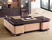 Beige and Brown Faux Leather Desk AE 62