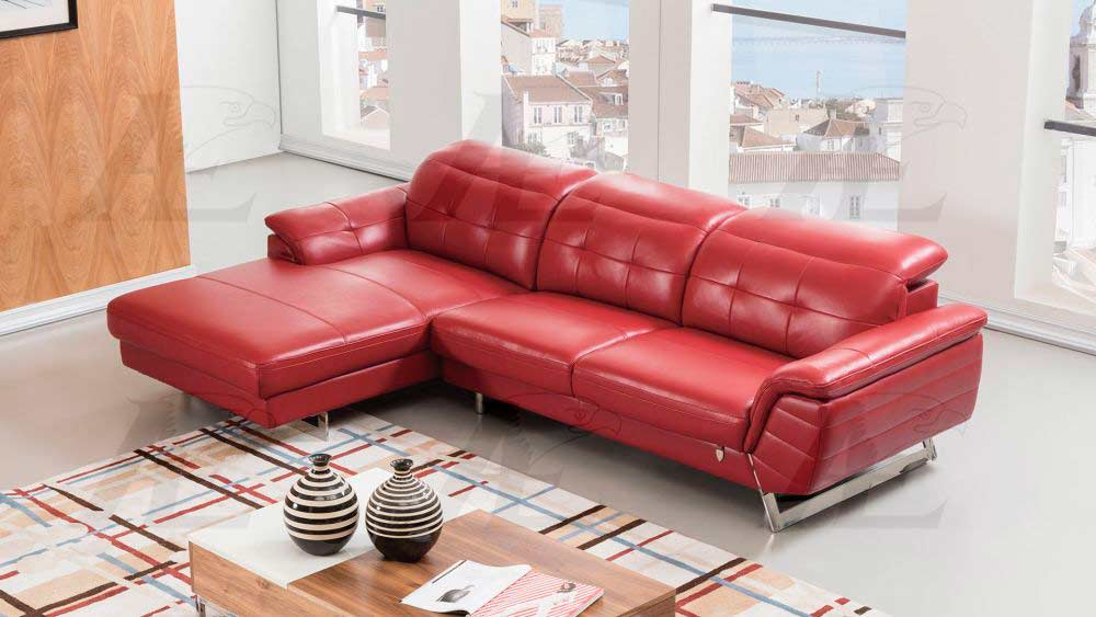 Red Italian Leather Sectional Sofa AE 085 | Leather Sectionals