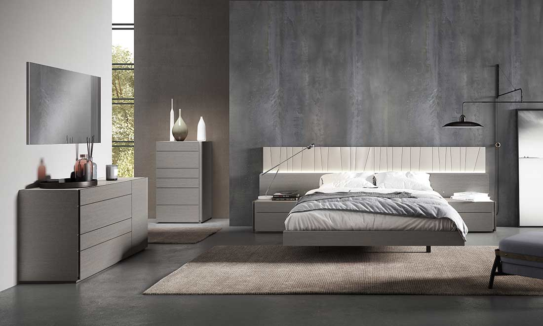 Grey Bed With Light Grey Lacquer Nj Paola Contemporary Bedroom