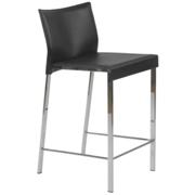 Riley Leather Counter Chair-Black-Chrome