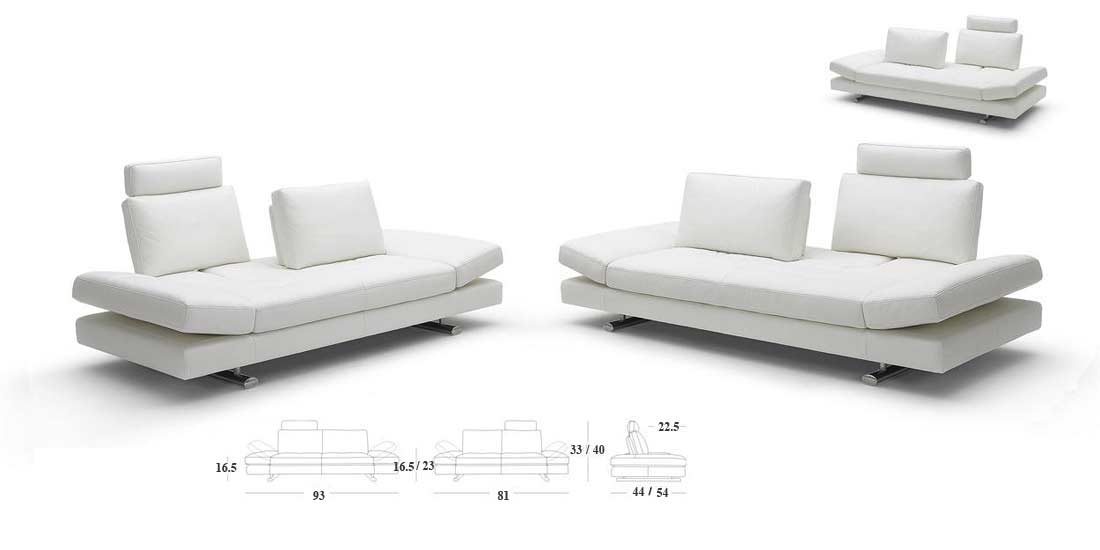 Cameo White Leather Sofa And Loveseat