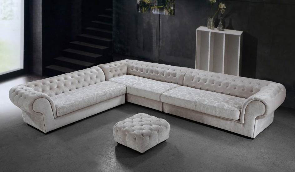 Beau Cream Dream Microfiber Sectional Sofa And Ottoman