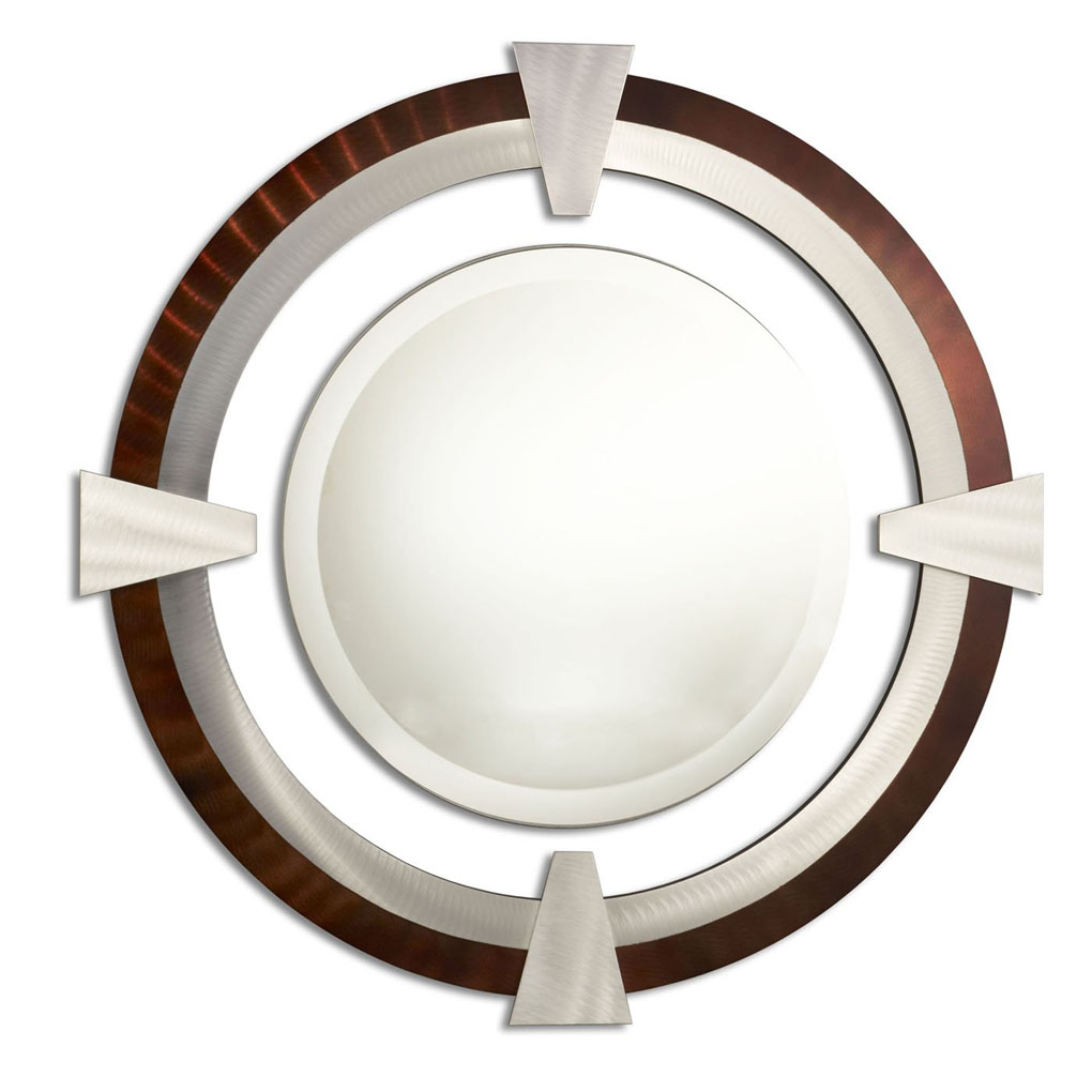 Deco round decorative mirror rootbeer accent mirrors for Fancy mirror
