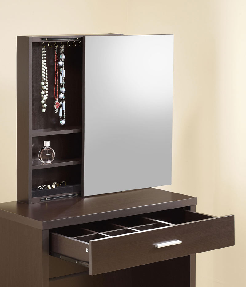 the vanities glossy cappuccino vanity with lift top stool
