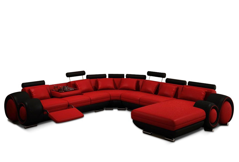 Modern Red and Black Bonded Leather Sectional - Astra | Leather ...