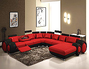 Modern Red and Black Bonded Leather Sectional - Astra