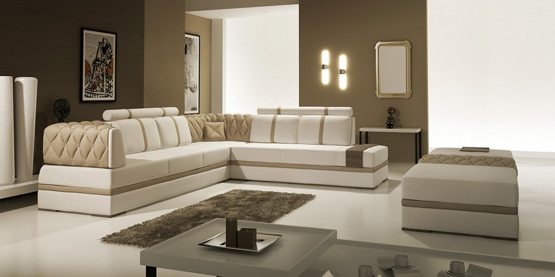 Modern leather sectional sofa lidia leather sectionals for Chaise 5013