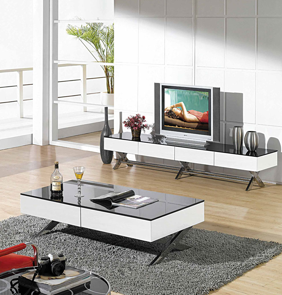 Modern Glossy White TV Stand CR TV Stands - Modern tv stand and coffee table set
