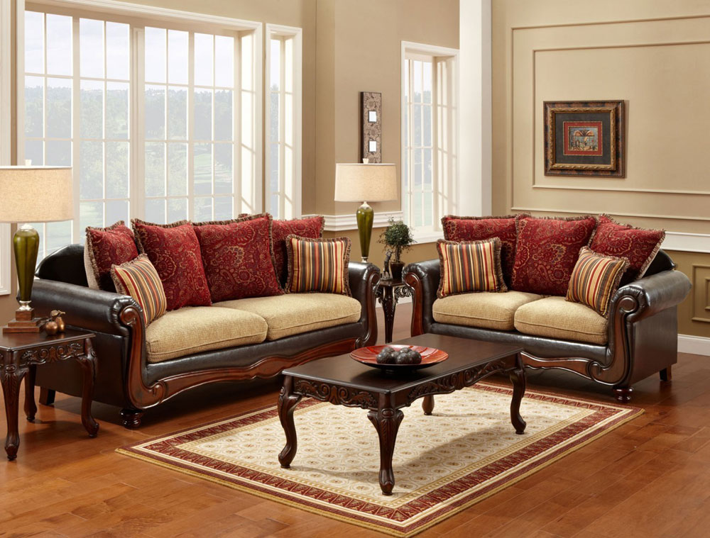 Traditional sofa set fa7490 traditional sofas for Family room sofa sets