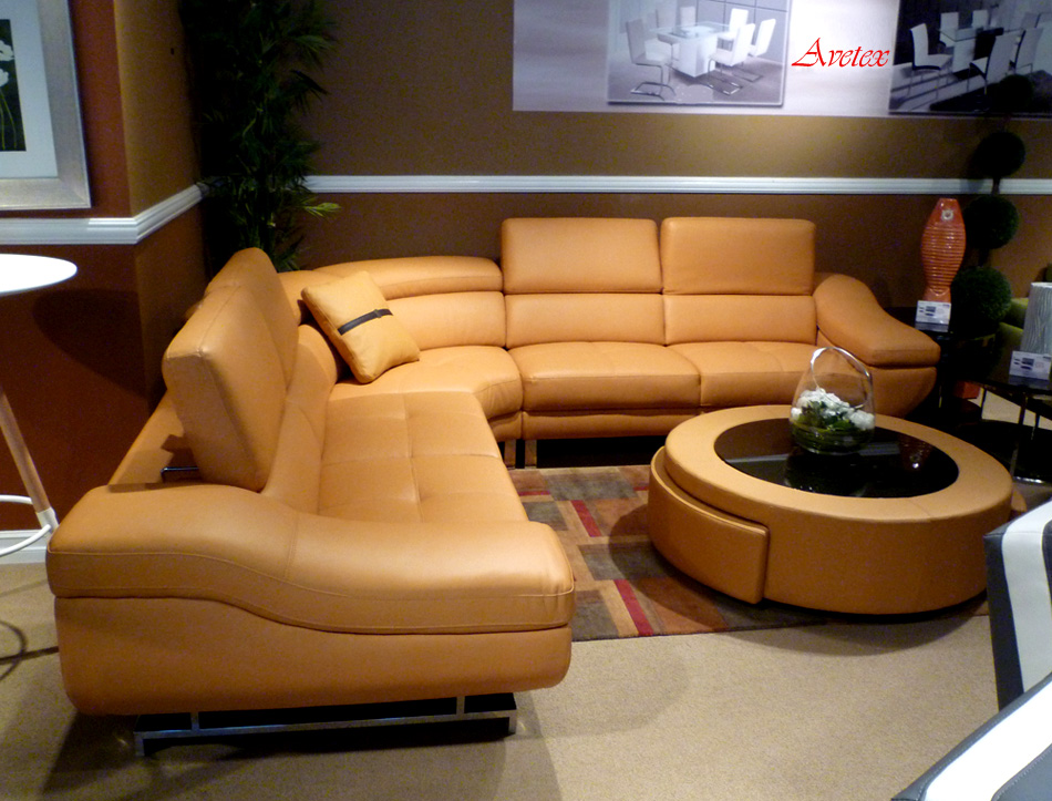 Orange Modern Sectional Sofa B68 : leather sectional couches for sale - Sectionals, Sofas & Couches