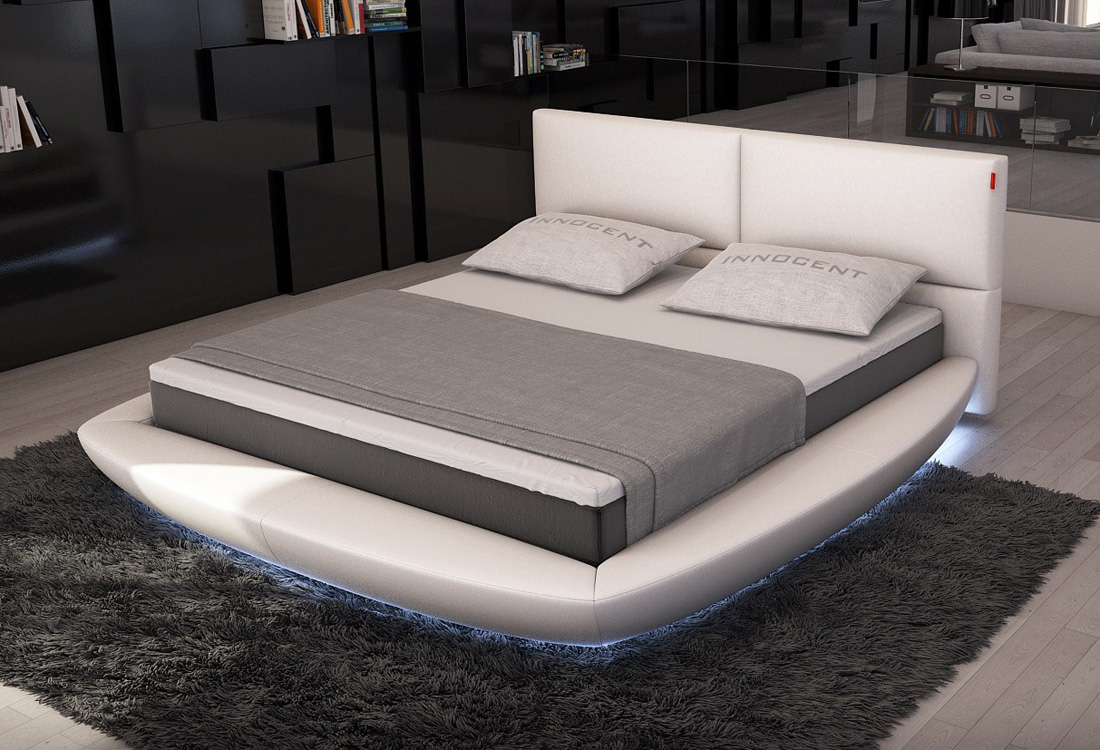 Lia modern bed with led lights contemporary bedroom for Contemporary beds